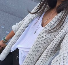 Really want a perfect white t: v-neck and loose/baggy, but a flattering cut. Also love this big chunky sweater.