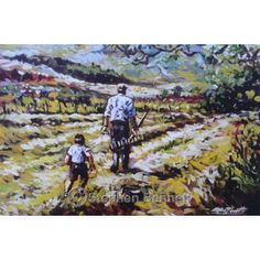 Irish art - In the Hayfield - Limited edition print by Donegal artist Stephen Bennett. Depicts an Irish hayfield scene in County Donegal, Ireland.