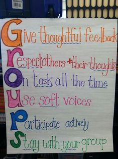 Excellent way to remind students how to behave during group work- AN