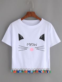 Search for White-Cat-Print-Tassel-Trim-T-shirt at SHEIN. Discover the latest women's, men's and kids' fashion online Fashion Kids, T Shirt Painting, Fabric Paint Shirt, Mode Grunge, Diy Vetement, White Short Sleeve Tops, Girl Outfits, Fashion Outfits, Tee Online
