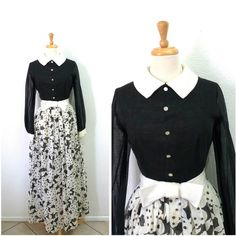 Vintage 1950s Cotton Dress Floral Print Black and White Peter Pan... ($168) ❤ liked on Polyvore featuring dresses, black and white floral dress, vintage cotton dress, peter pan collar dress, floral dresses and floral print dress