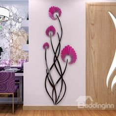 """removable wall stickers sayings. CLICK Visit link for more details - Wall Decals: The Perfect """"Stick-on"""" Design. Simple Wall Paintings, Wall Painting Decor, 3d Mirror Wall Stickers, Wall Stickers Home Decor, Wall Art Designs, Wall Design, Flower Mural, Flower Wall Decals, Home And Deco"""