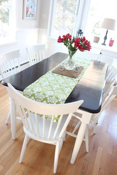 Shine Your Light: A Kitchen Table Makeover. Goodbye orangey oak....hello to black and white