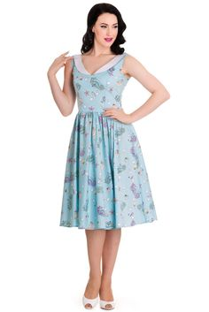 Hell Bunny Sea Sparkle Dress Size X-Small New blue seahorse shell print #HellBunny