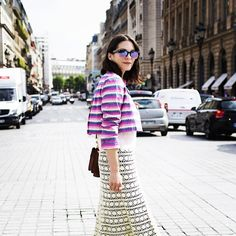 Andrea Bogdan, creative director #emmetrend #andreabogdan #streetstyle #pfw  jacket is by Ognibene Zendman, my top is by Hetty Bradley and both my skirt and shoes are vintage. I'm carrying a bag by F.Ili.""