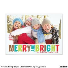 Modern Merry Bright Christmas Greeting Photo Card