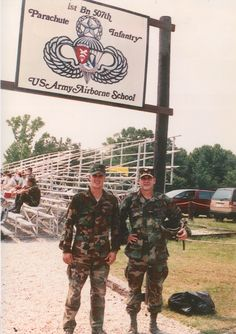 Dad and I after my fifth jump at Airborne School.  I followed him out the door of the C130.  Great day!!
