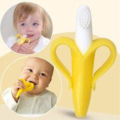 Masajeador de Plátano Flexible de silicona Bebé Mordedor cepillo de Dientes Entrenamiento Infantil Del Niño Niños Anillo de Dentición