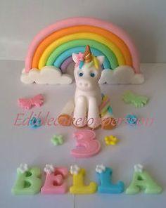 FONDANT RAINBOW LARGE CAKE TOPPER DECORATION SET HANDMADE EDIBLE
