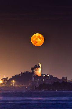 Super moon rising over Black rock Castle Cork Ireland. Beautiful Moon, Beautiful World, Beautiful Places, Ireland Travel, Cork Ireland, Backpacking Ireland, Ireland Vacation, Shoot The Moon, Photos Voyages
