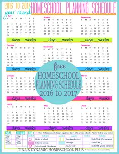 2016 to 2017 Year Round Homeschool Planning Schedule. Begin building your free 7 Step Homeschool Planner. Not another like it! Color luv color scheme @ Tina's Dynamic Homeschool Plus