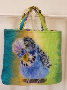 Hand felted budgerigar art handbag by MarmaladeRose on Etsy, £80.00