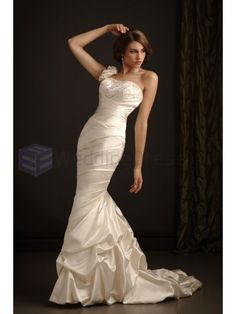 Mermaid Satin Asymmetrical Ruched Bodice Scooped Neckline Sweep Train Wedding Dresses