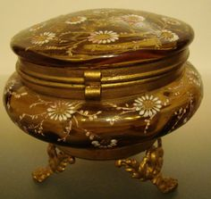 Antique Box Brown Flowered Glass Powder or Jewelry Box Hinged and footed