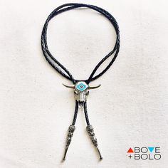 Southwestern BOLO TIE with Cow Skull and Genuine by AboveandBolo