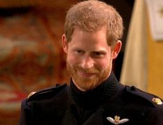 Prince Harry at St George's Chapel for his wedding to Ms Meghan Markle