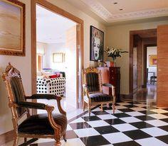 Entry, black and white, floor, tile, elegant, eclectic, gilt,