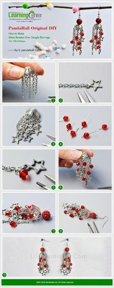 PandaHall Original DIY - How to Make Glass Beaded Star Dangle Earrings for Christmas from LC.Pandahall.com | Jewelry Making Tutorials & Tips 2 | Pinterest by Jersica