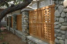 Craftsman-style fence by Charles Prowell Woodworks. #landscape #fence