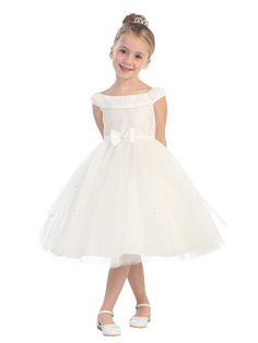 Little Girls Rhinestone Accented V-Neck Dress with Glitter Skirt