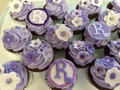 Bridal Shower Cupcakes With Edible Glittery Fondant Cupcake Toppers Purple Shades And Silver