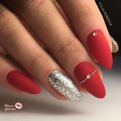 Christmas nails 🎄 🎅 🏻 red acrylic nails, red gel nails, gel manicure, al Red Nail Art, Red Acrylic Nails, Pink Nails, Glitter Nails, Red Gel Nails, Red Manicure, Acrylic Nails Almond Short, Red Stiletto Nails, Matte Nail Art