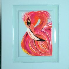 Flamingos are everything! Nothing is as fresh and happy as layers of pink, shrimp and salmon. Done on a reclaimed cabinet door in a sky blue. Alluring and sweet as the magical bird always is! 17x15