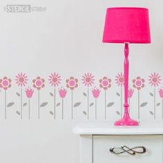 Funky Flowers Stencil - Buy reusable wall stencils online at The Stencil Studio