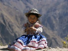 Little Girl in Traditional Dress, Colca Canyon, Peru, South America