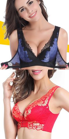 55b6888396 US 15.46Front Closure Wireless Deep V Gather Lace Printing Adjustable Push  Up Bra Lingerie Fine