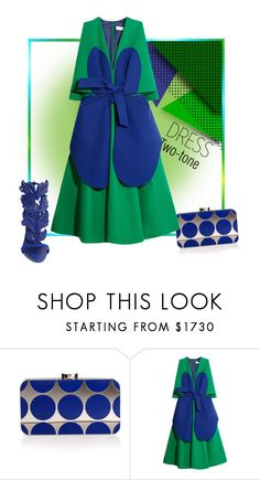 """Petals of Blue"" by michelletheaflack ❤ liked on Polyvore featuring Manolo Blahnik, Delpozo, Giuseppe Zanotti, polyvorecontests, twotonedress and styleinsider"