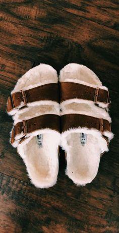 size 40 47cb4 09eed Birkenstocks, Fuzzy Sandals, Flat Sandals, Shoes Sandals, Sock Shoes, Cute  Shoes