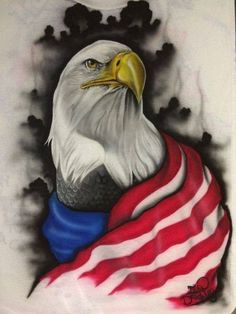 American Eagle Tattoos with Flag Patriotic Pictures, Eagle Pictures, Eagle Drawing, Eagle Painting, Patriotic Tattoos, Eagle Art, Spiderman, I Love America, Airbrush Art
