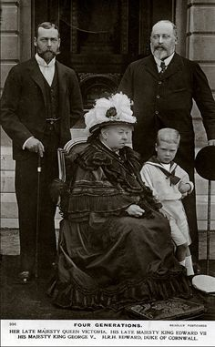 royal-world: Three Kings and one Queen - Queen Victoria with her son Bertie (future King Edward VII), grandson George (future King George V) and her great-grandson David (future King Edward VIII). Reine Victoria, Victoria Reign, Queen Victoria Prince Albert, Victoria And Albert, Queen Victoria Facts, Victoria Series, Edward Viii, Edward Albert, Queen Victoria