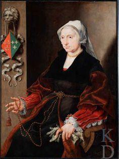 Maarten van Heemskerck (1498 - 1574). Portret van Wilhelmina Pietersdr. Palinc (.... -1567), c. 1545. [Pinned 11-iv-2015]