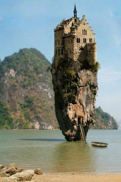 """Castle House Island in Dublin, Ireland"" - April Fool's prank from Worth 1000 by photoshopping a German castle onto one of the Khao Phing Kan islands in Thailand"