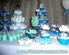 Sugestão de decoração para chá de bebê de menino nas cores azul e branco.   Olá Pessoal!!!   Me perdoe o sumiço, mais como eu disse aqui ne...