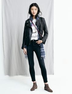 black jacket + white tee + plaid scarf + dark jeans + chelsea boots