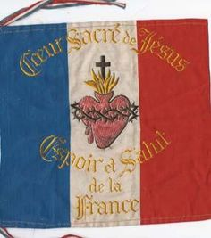 "The Flag of Sacre-Coeur, borne by the Pontifical Zouaves who fought (victoriously) at Patay, had been first placed overnight in St. Martin's Tomb before being taken into battle on October 9, 1870. The banner read ""Heart of Jesus Save France"" and on the reverse side Carmelite Nuns of Tours embroidered ""Saint Martin Protect France""."