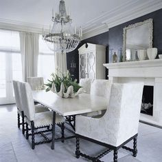 dining room, white on black