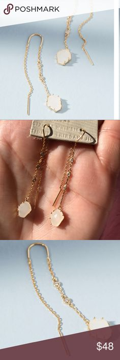 Anthropologie Tethered Stone Threader Earrings NWT These beautiful earrings are 14k gold plated, and are a standout. Each strand set with 3 beautiful crystals that sparkle in the light. No trades or lowball offers please. Anthropologie Jewelry Earrings