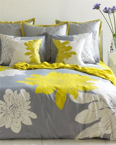 color combos, guest bedrooms, duvet covers, grey, yellow, homes, guest rooms, bedding sets, comforters