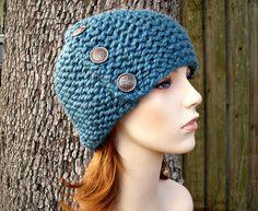 Knit Hat Blue Womens Hat - Cardigan Beanie Hat in Teal Blue Knit Hat - Blue Hat Blue Beanie Womens Accessories Winter Hat Winter Hats For Men, Hats For Women, Knit Or Crochet, Crochet Hats, Hat For Man, Beanie Hats, Hand Knitting, Knitted Hats, Teal Blue