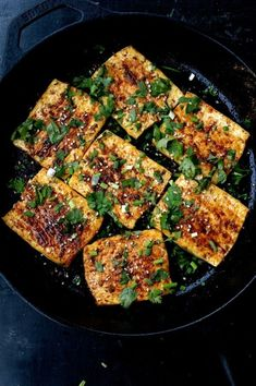 """This """"tieban dofu,"""" or griddled tofu steak, using Xinjiang spices like cumin and chili. It's tasty, healthy, and vegan! But the good news with this dish is that it has so much great flavor, you'll never feel deprived."""