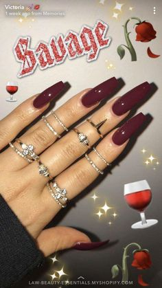 How to choose your fake nails? - My Nails Dark Nail Art, Dark Nails, Dark Color Nails, Long Nail Art, Dark Art, Red Acrylic Nails, Acrylic Nail Designs, Coffin Acrylics, Clear Acrylic