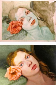 Painting process - first, the underpainting, followed by the final product.  Oil on mylar, 2010.