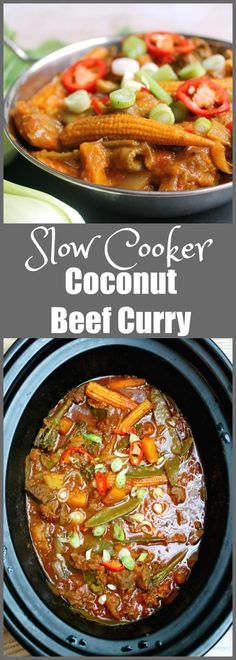 Slow cooker coconut beef curry - an easy to make crockpot dish ideal for family meals