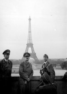 Buy the Hitler in Paris w/ Eiffel Tower WWII Photo Print for sale at The McMahan Photo Art Gallery and Archive. Nagasaki, Hiroshima, Tour Eiffel, Germany Ww2, Fukushima, Europe, World History, Military History, World War Two