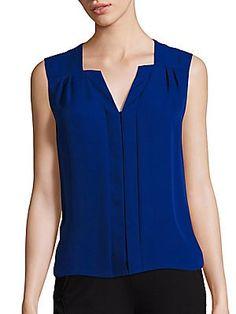 Elie Tahari blouses - Splendid silk blouse designed with a center panel Split V-neck Sleeveless Back yoke with inverted. And jewel tones :-) Blouse Designs Silk, Blouse Patterns, Neckline Designs, Neck Designs For Suits, Stylish Dresses, Fashion Dresses, Sewing Blouses, Silk Blouses, Pencil Skirt Black