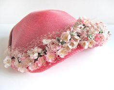 Honeysuckle pink straw hat, 1950s